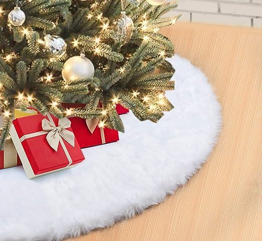 Falda de Árbol de Navidad 122cm Blanco Suave Felpa Faldas para el ...