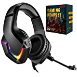 INHANDA Gaming Headset,Xbox One Headset with Mic, PS4 Headset with Mic Noise Canceling & Deep Bass Sound,RGB LED Light,Compat