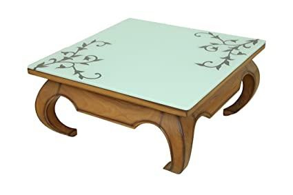 Teak Wood Centre Table Cum Coffee Table With Painted Glass Amazon