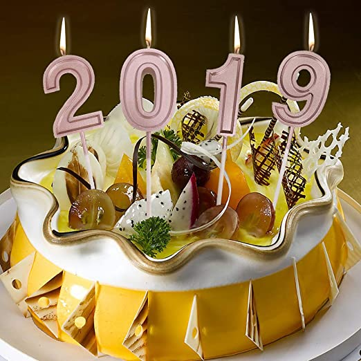 Groovy Amazon Com Zyooh 4Pcs Gold 2019 Number Cake Toppers Birthday New Funny Birthday Cards Online Inifofree Goldxyz