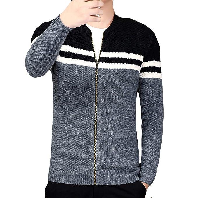 Chaqueta de Rayas de Moda para Hombre de Punto a Rayas de Slim fit suéter de Internet: Amazon.es: Ropa y accesorios