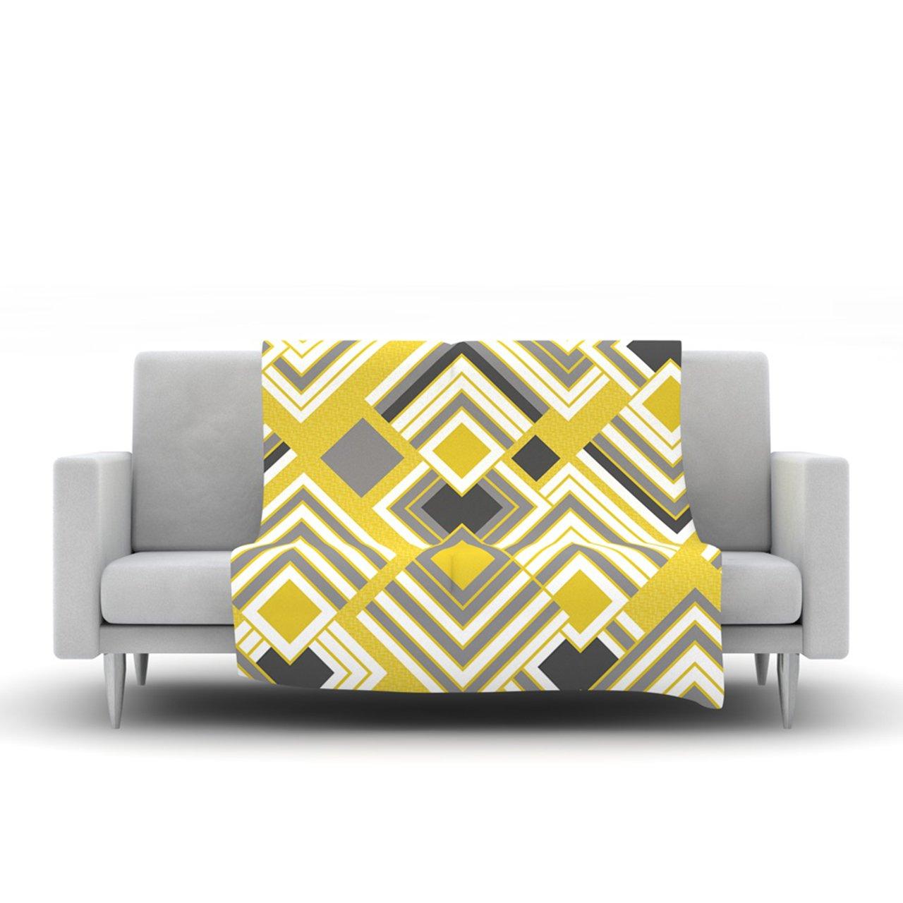 Kess InHouse Jacqueline Milton Luca-Gold Yellow Gray Fleece Throw Blanket 80 by 60