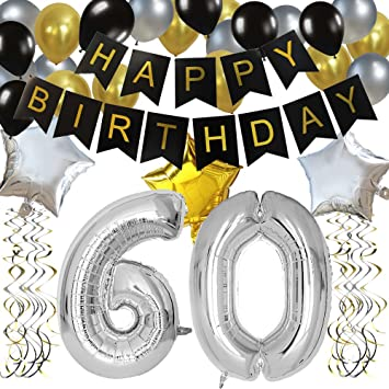 KUNGYO Classy 60TH Birthday Party Decorations Kit-Black Happy Brithday Banner,Silver 60 Mylar Foil Balloon, Star, Latex Balloon,Hanging Swirls, ...
