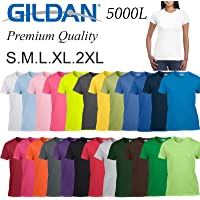 Gildan T-Shirt Blank Plain Tee Top S-2XL Female Ladies Women's Heavy Cotton