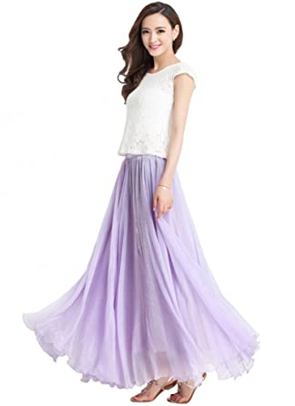 ba5e4ccffe Medeshe Women's Lavender Long Chiffon Beach Bridesmaid Maxi Skirt (Waist To  Hem: 80cm)