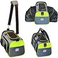 Peak Pooch - Expandable Foldable Airline Approved IATA Carry On Travel Pet Dog Cat Soft-Sided Carrier w/ Fleece Bed - Charcoal (Neon Green Trim, Large) - 19x 12x 12 by Peak Pooch