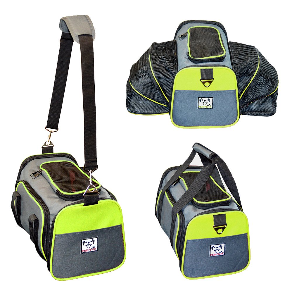 Peak Pooch - Expandable Foldable Airline Approved IATA Carry On Travel Pet Dog Cat Soft-Sided Carrier w/Fleece Bed - Charcoal (Neon Green Trim, Small) - 16''x 9''x 9''