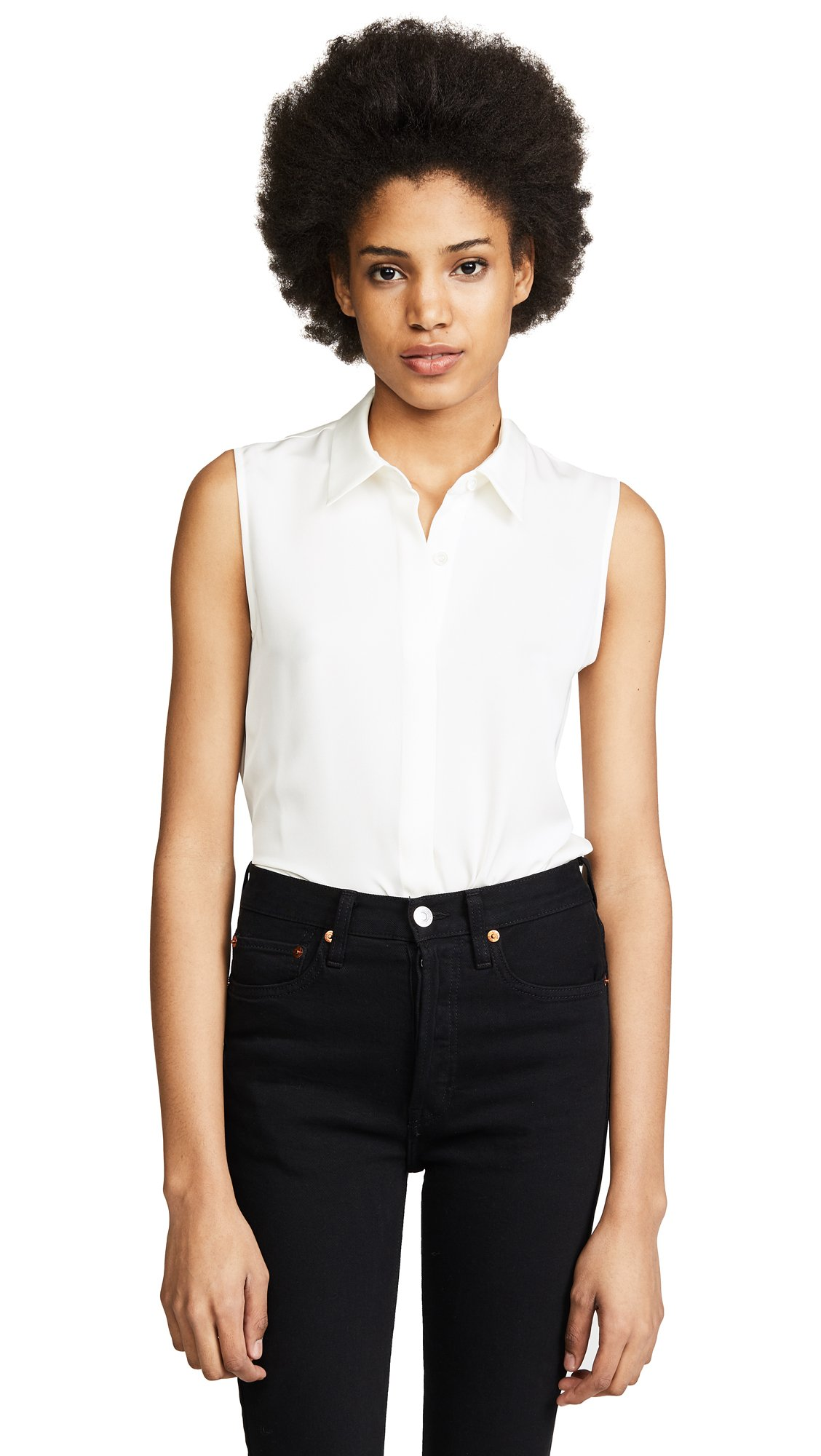 Theory Women's Tanelis Modern Georgette Blouse, Ivory, Small