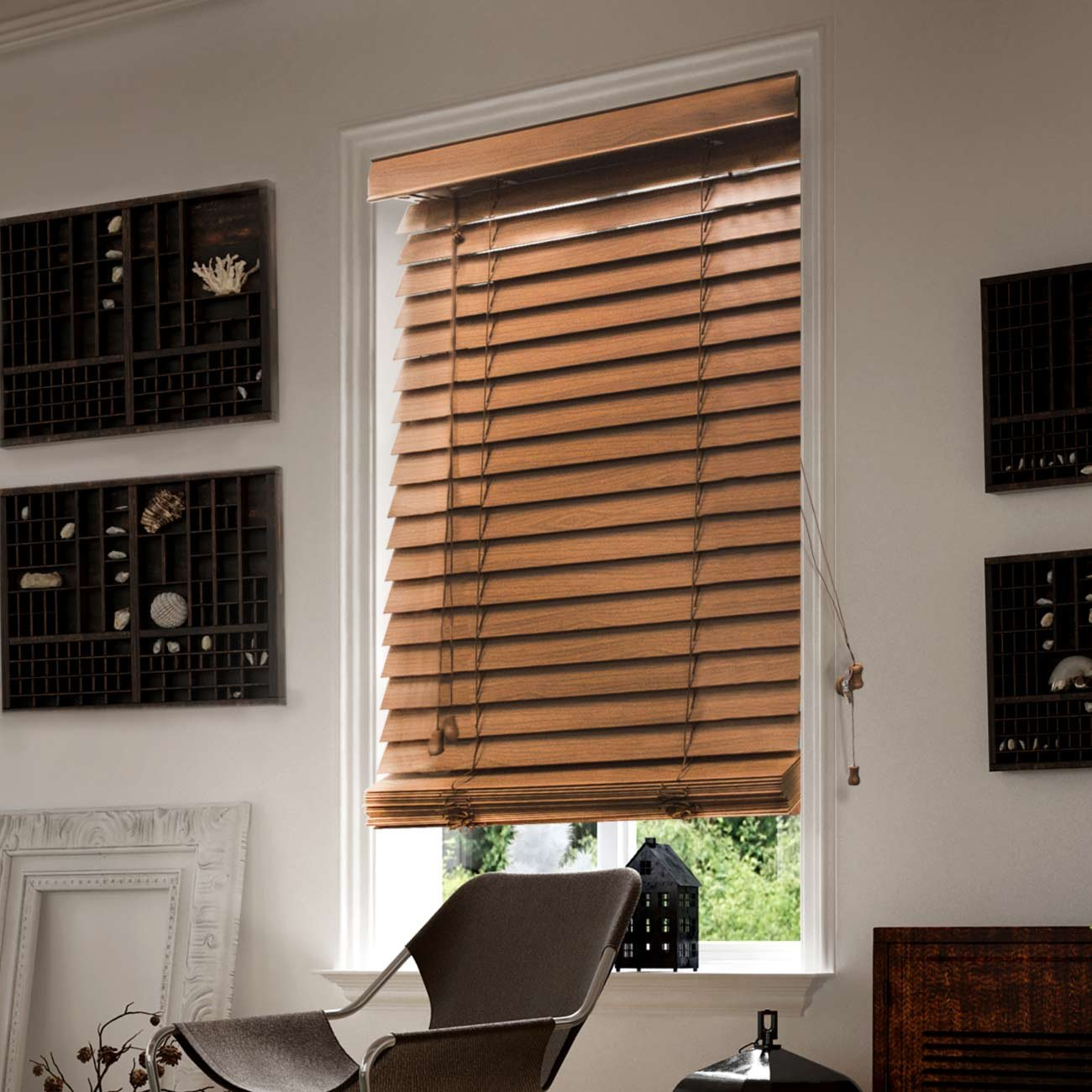 CHICOLOGY Faux Wood Blinds/window horizontal 2-inch venetian slat, Faux Wood, Variable Light Control - Simply Brown, 35'' W X 64'' H by CHICOLOGY (Image #3)
