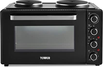 90 Minute Timer Black with Silver Accents Tower T14045 Mini Oven with Adjustable Temperature Control Baking Tray and Wire Rack 42 litre