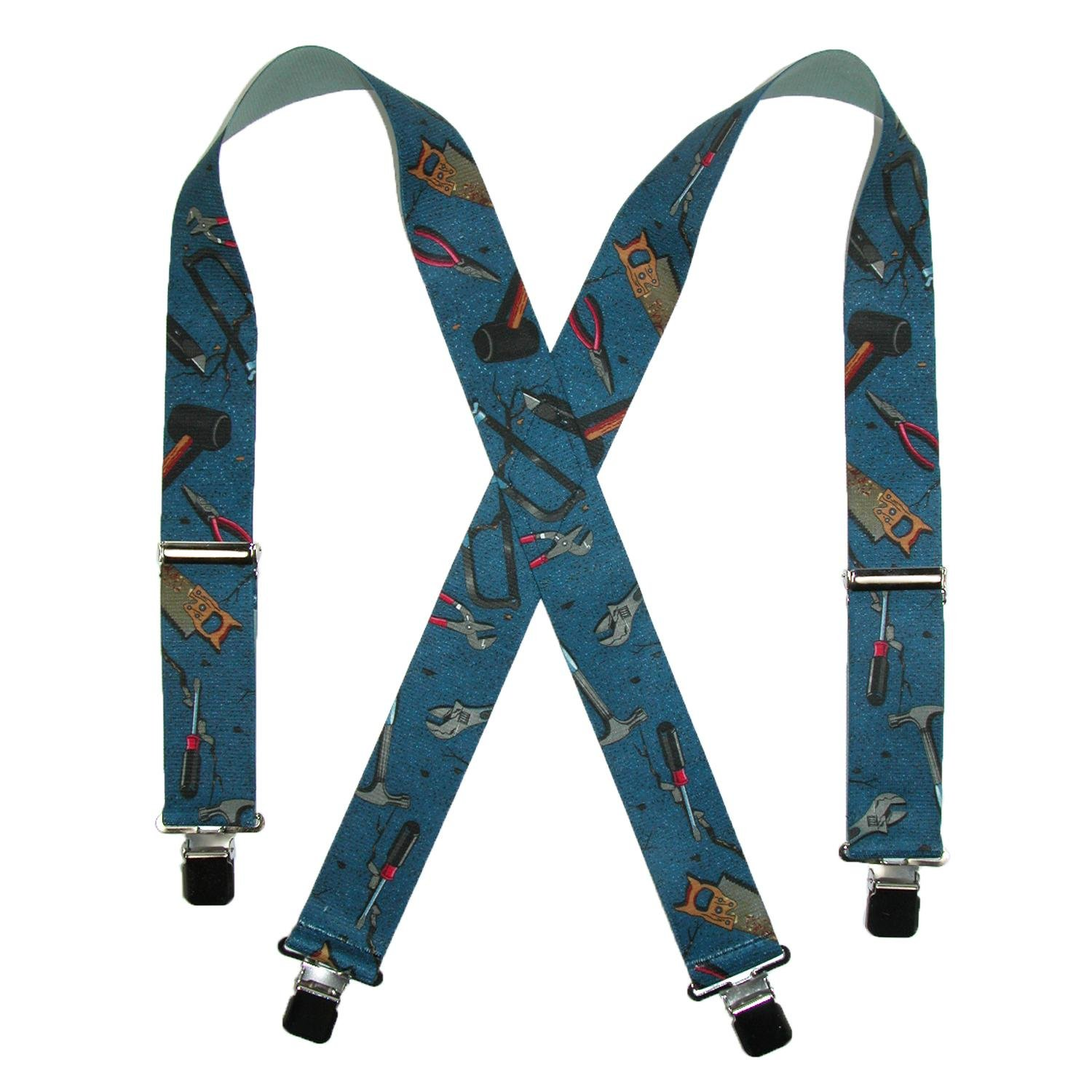 CTM Men's Elastic 2 Inch Wide Clip-End Hand Tools Suspenders, Blue SF-250HDTL-BLU