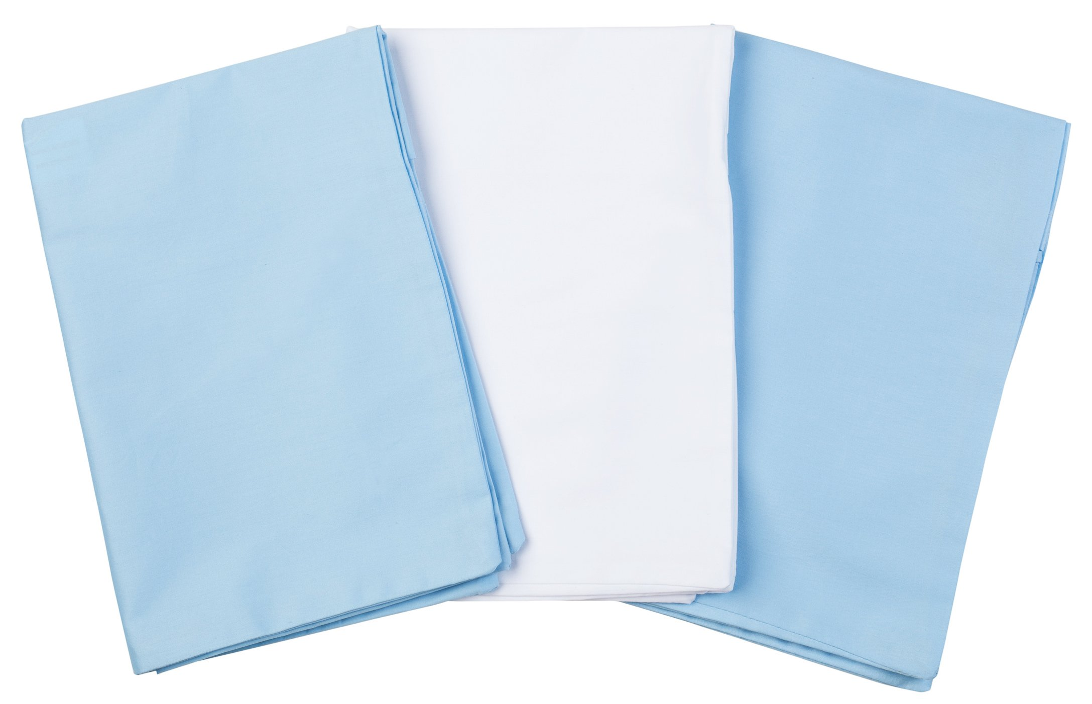 3 Toddler Pillowcases - 2 Blue and 1 White - Envelope Style - For Pillows Sized 13x18 and 14x19 - 100% Cotton With Soft Sateen Weave - Machine Washable