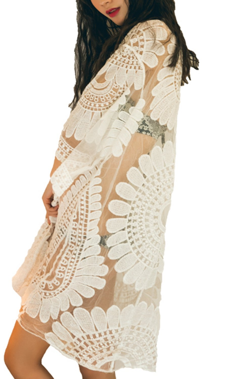 VenuStar Women's Floral Crochet Lace Beach Swimsuit Cover Ups Long Vintage Kimono Cardigan Lace Cover up Jacket (One Size, Y-Beige)