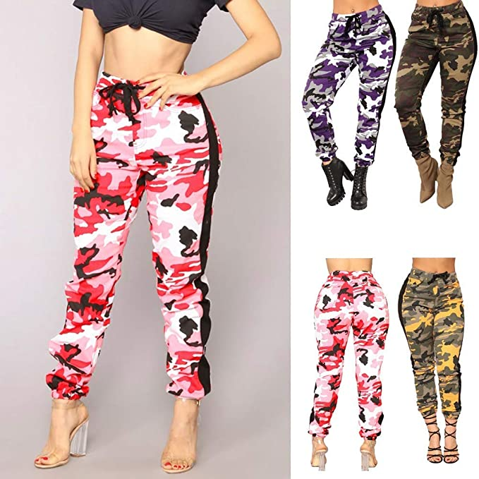 Amazon.com: SMALLE ◕‿◕ Clearance,Pants for Women, Camo Trousers Casual Pants Military Army Elastic waistt Camouflage Pants: Clothing