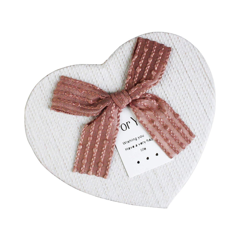 Color Interno Cioccolato e Nastro Rosa Emartbuy Set di 3 Lusso Rigido a Forma di Cuore Confezione Regalo di Presentazione Scatola Marrone Con Coperchio Rosa Chiaro