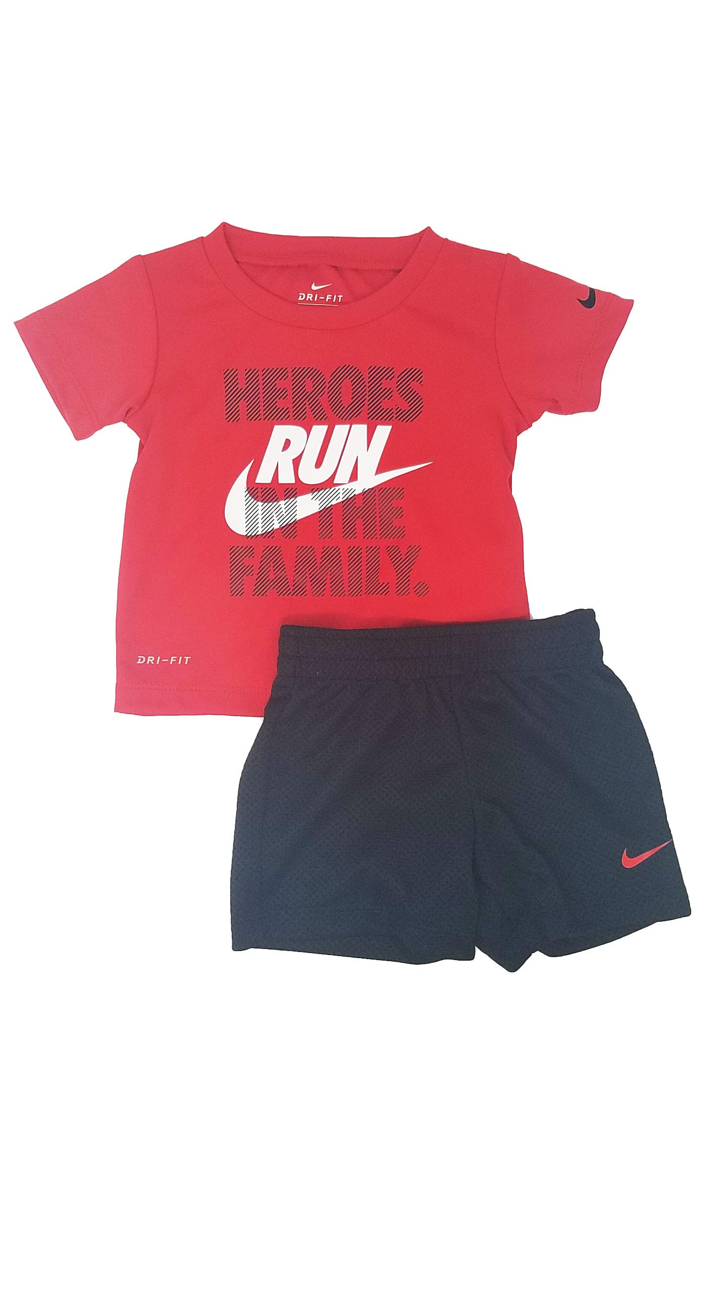 Nike Toddler Boys Dri Fit Short Sleeve T-Shirt and Short 2 Piece Set (Black (66E906-203)/White, 12 Months)