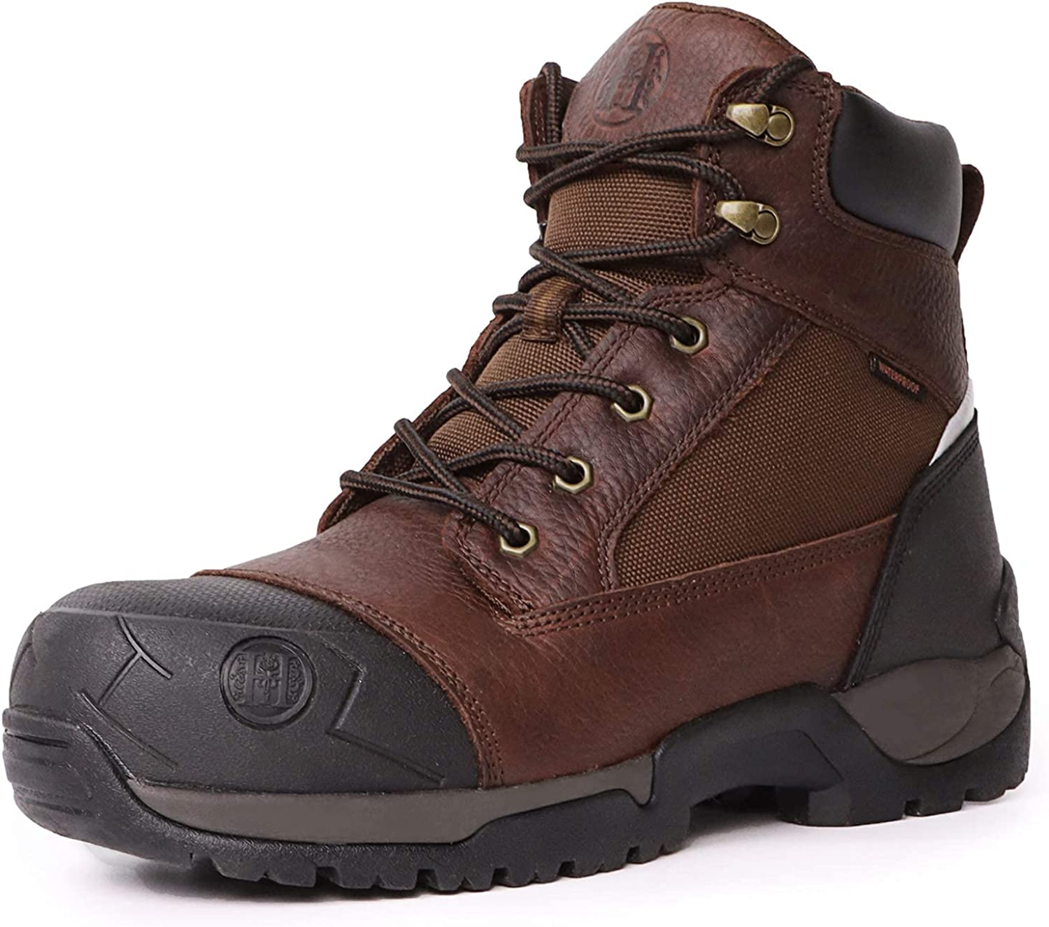 6 Composite Toe /& Soft Toe Mens Work Boots Claret HANDMEN Work Boots for Men Non-Slip Puncture-Proof Water Resistant Anti-Fatigue Safety EH Moc Toe Construction Work Shoes