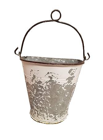 Wall Pocket Planter Half Bucket w//Handle Galvanized Chipped Aged Metal