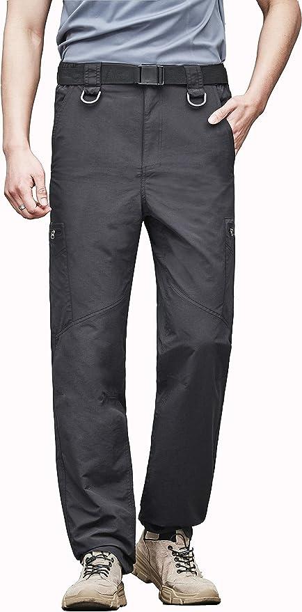 Gray,XL COOrun Lightweight Hiking Pants Waterproof Pants Cargo Pants Quick Dry