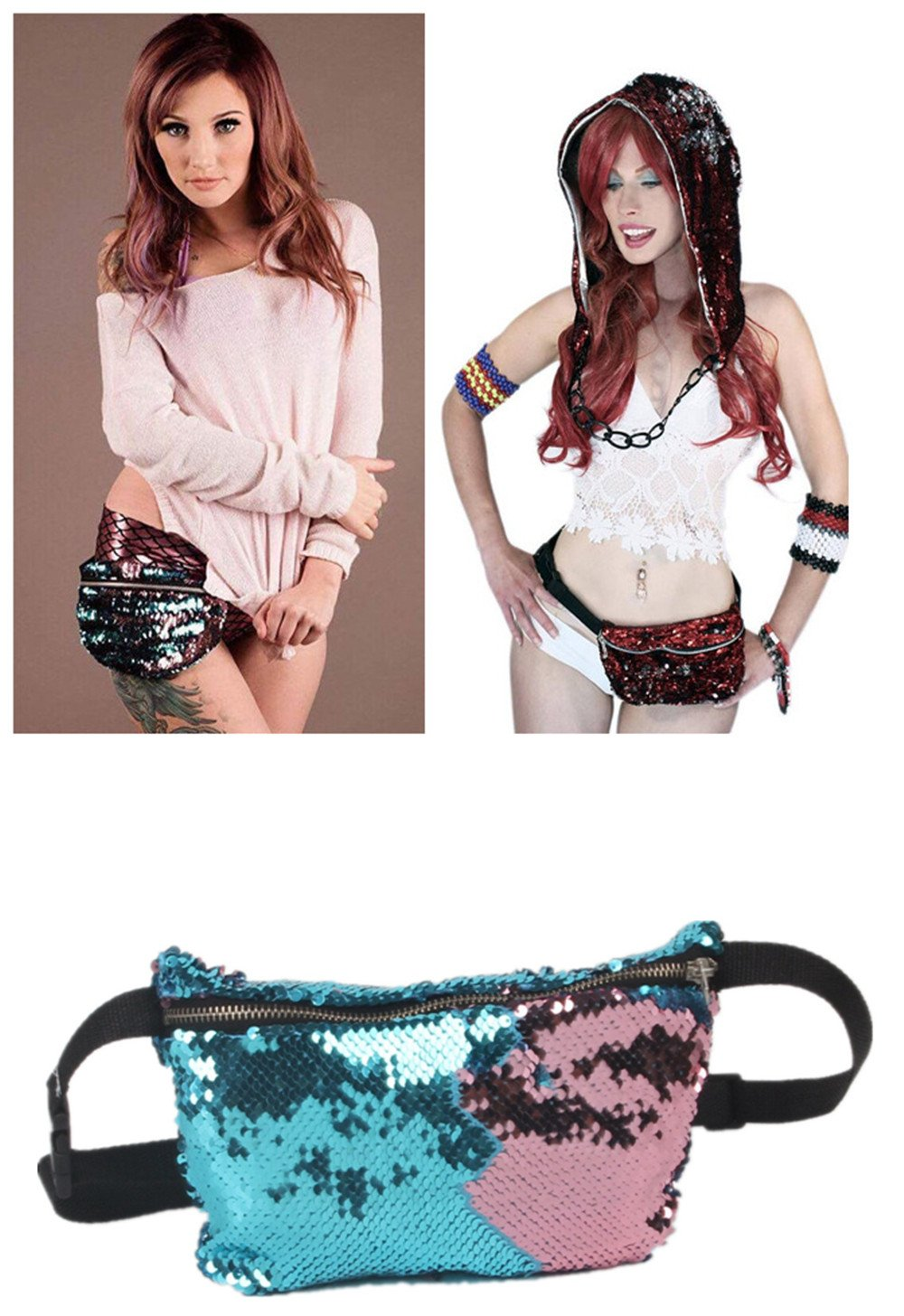 Menglihua Womens Girls Magic Reversible Sequins Mermaid Casual Waist Shoulder Bags Blue-Purple One Size