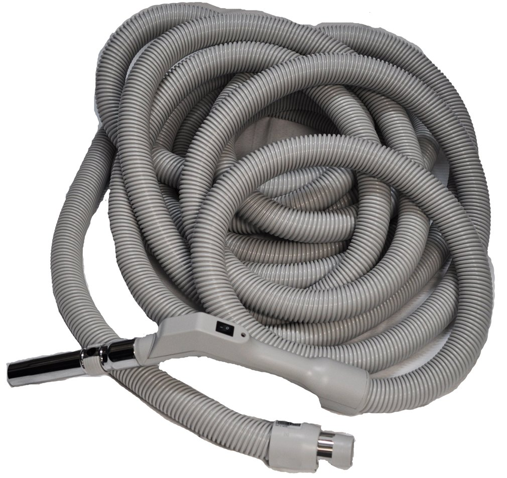 Central Vac Hose Assy 40Ft Low Voltage Crushproof Hose With Switch-Grey
