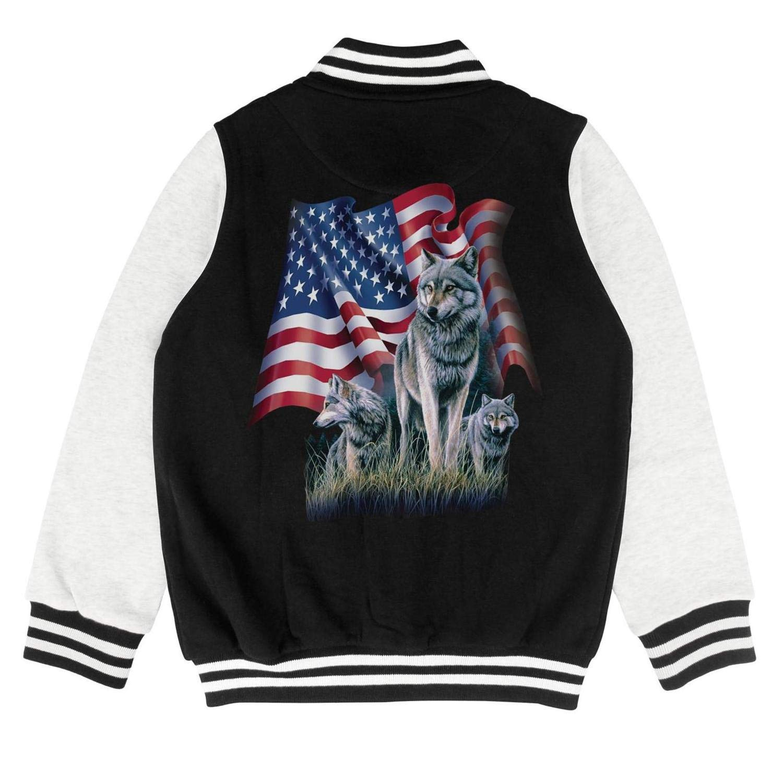 Kids Wolf Flag American Flag Little Boys Baseball Jacket for Girls Boys Baby Outerwear Coats