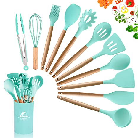 MIBOTE 11pcs Silicone Cooking Kitchen Utensils Set, Bamboo Wooden Handles  Cooking Tool BPA Free Non Toxic Silicone Turner Tongs Spatula Spoon Kitchen  ...