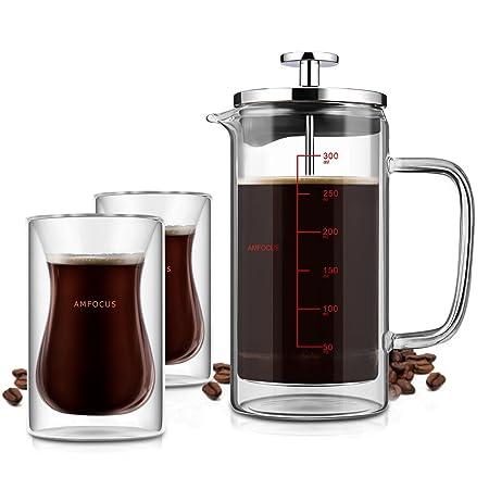 AMFOCUS - Cafetera de café con 2 tazas de espresso, doble pared ...