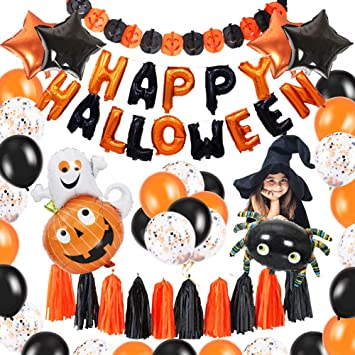 Happy Halloween Deko Set 49 Pack Halloween Dekoration Fur Party Grusel Dekoration Set Halloween Ballons Spinne Kurbis Ghost Folienballon Quaste Konfetti Ballon Halloween Party Fur Kinder Decor Amazon De Spielzeug