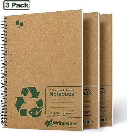 Write Paper Cuaderno A5 Libreta, Pack de 3 Bloc de Notas Espiral, Papel Rayado Perforado 80 Hojas (160 Páginas)  Cubierta de Kraft: Amazon.es: Oficina y papelería