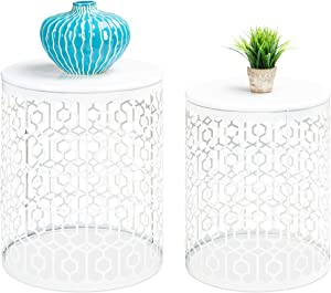 Best Choice Products Metal Accent Table, Set of 2 Decorative Round End Tables Nightstands, Coffee Side Tables for Living Room Bedroom Office, Nesting - White
