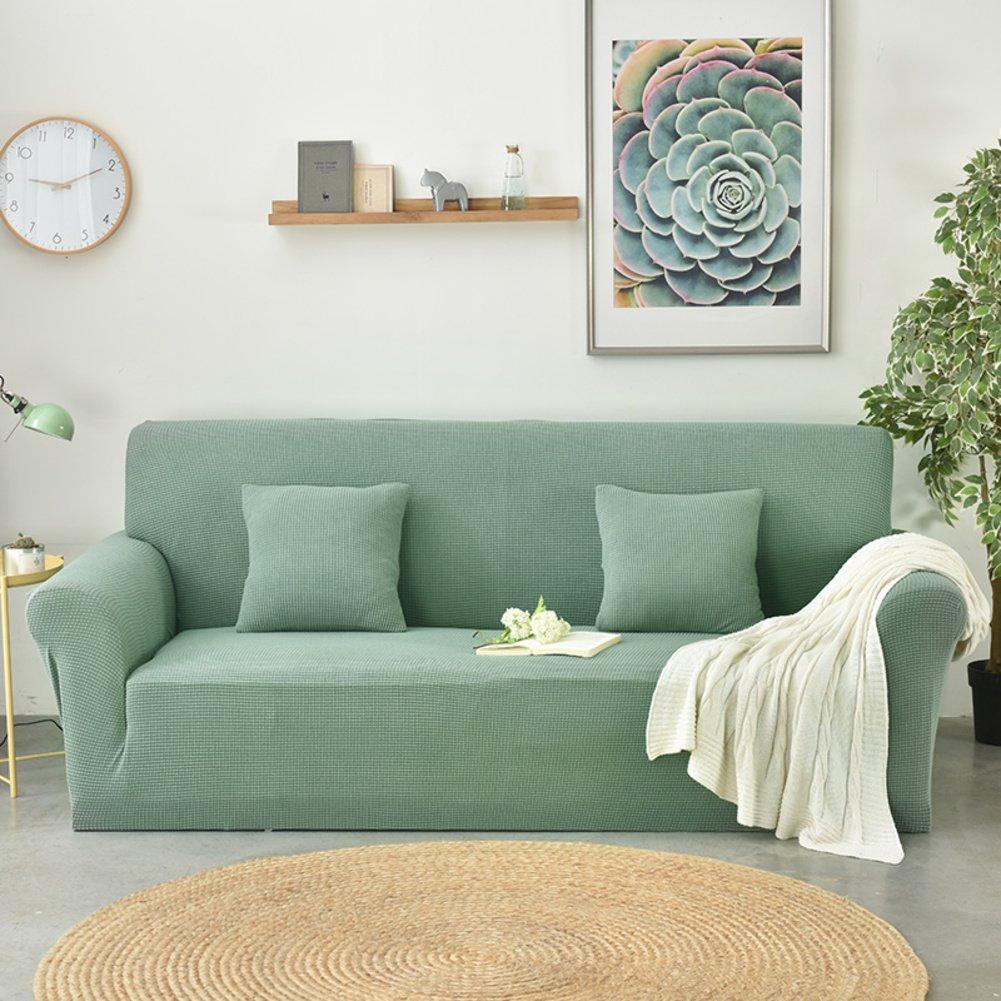 DW&HX Elastische einfarbige Kombination-sofakissen Wasserdichte sofabezug,Schmutz-Beweis Anti-rutsch Kombination-sofakissen einfarbige Lattice Vier Jahreszeiten Sofa slipcover -Kiefer grün 3-sitzer 09f53e