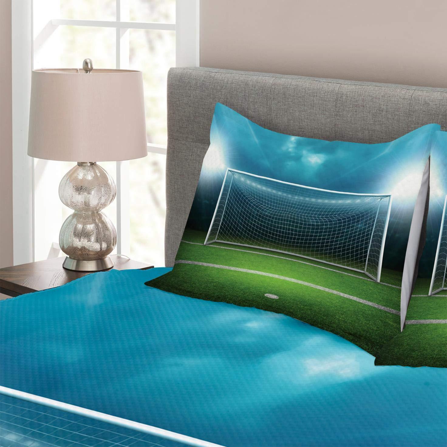 Abakuhaus Fußball Tagesdecke Set, Fußball-Fußball-Spiel, Set mit mit mit Kissenbezug Mit Digitaldruck, für Einselbetten 170 x 220 cm, Grün Blau 4a6716