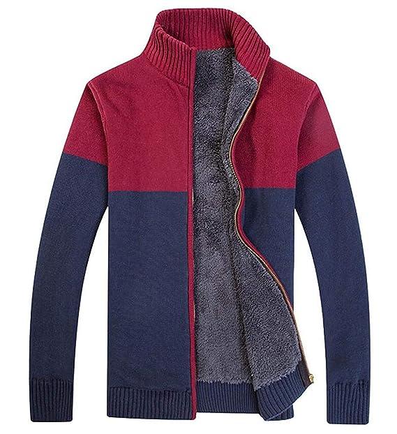Cárdigan De Punto De Hombres Suéter De Punto Cálido Cuello Clásico De Soporte con Suéter De