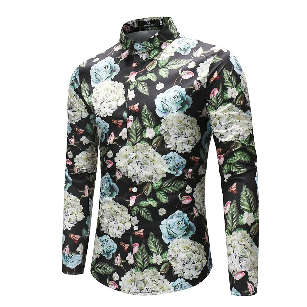 MYMSTORM Men Shirts allover Printed Fashion Style Spring Men's Button Down Shirt (L, CS37) by MYMSTORM (Image #3)