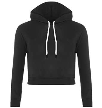 37132ec0 The Celebrity Fashion New Womens Plain Fleece Long Sleeve Crop Top Pullover  Hooded Sweatshirt Cropped Hoodie 8 10 12 14: Amazon.co.uk: Clothing