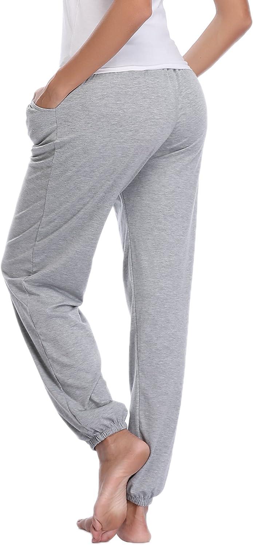 Abollria Damen Schlafanzughose 100/% Baumwolle Pyjamahose Nachtw/äsche Hose Lang Sporthose Freizeithose Jogging Hose
