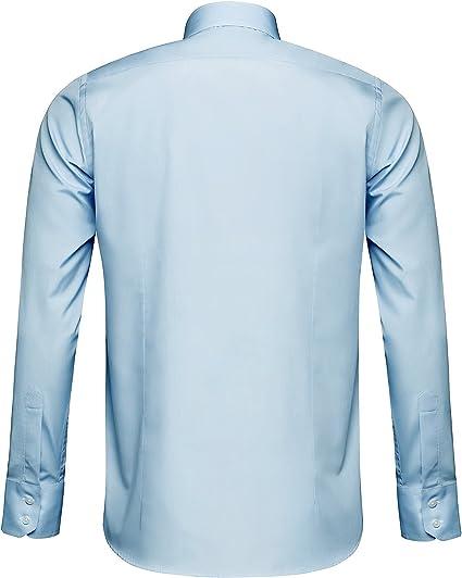 BOSS Hugo Hombre Camisa jery Regular Fit Tiburón Cuello Blanco & Color Azul Claro Azul Claro M: Amazon.es: Ropa y accesorios