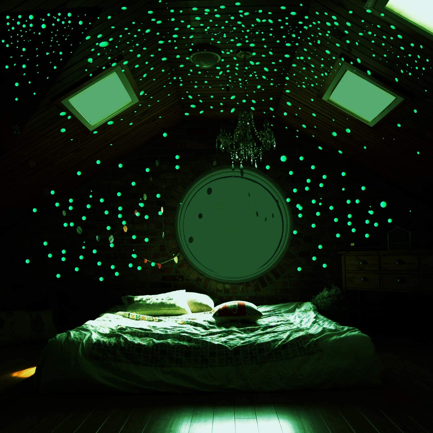 MUCH Realistic 3D Domed Stickers 606 Dots Glow in The Dark Stars Decals Decor for Ceiling Starry Sky Perfect for Kids Bedding Room Gift (Green)