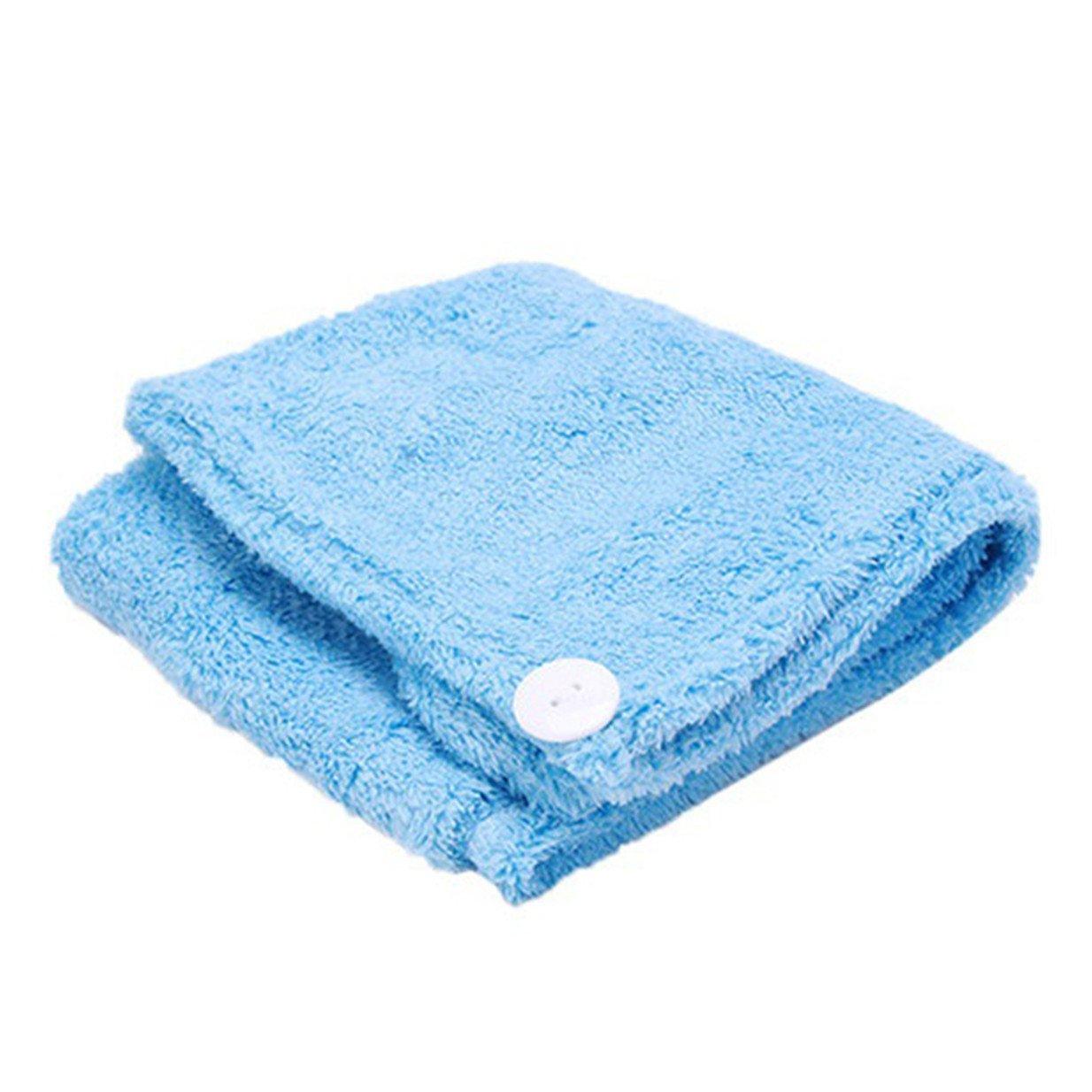Lalang Trockene Haarkappe, Koralle Samt Superabsorbierende Schnell-trockenes Bad Haar-Tuch-Kopf-Verpackungs-Hut (Blau) 88_Store