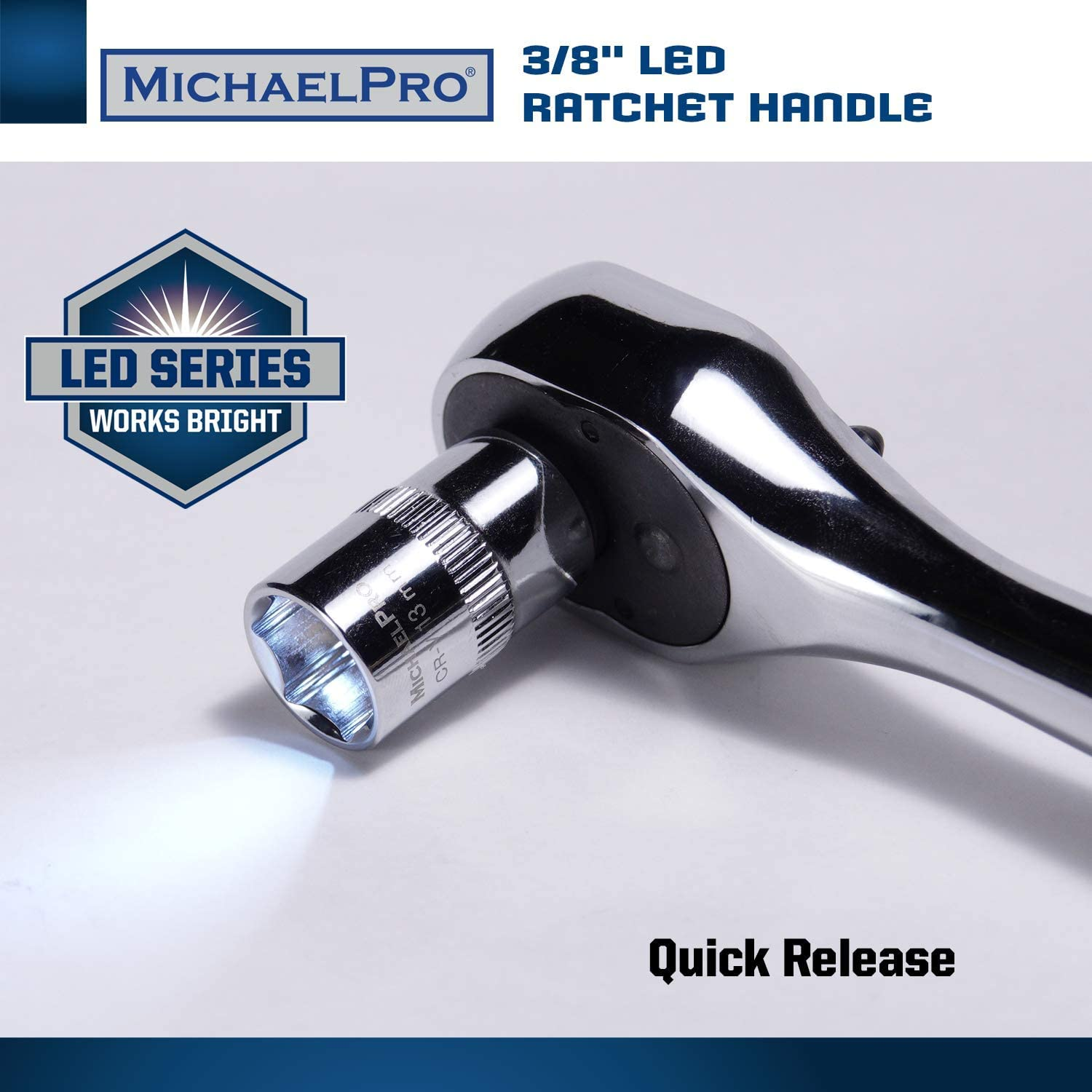 MichaelPro MP001037-3//8-Inch Drive Socket Ratchet Handle with Patented Built-in LED Flashlight Design,Quick Release,Reversible Ratchet Wrench 72 Tooth,CR-V Steel and Mirror Polish Finish