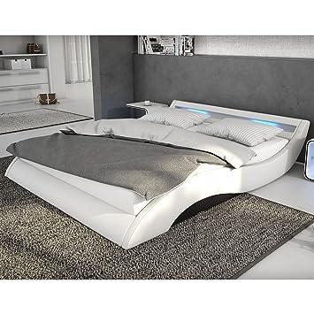 Polster Bett 140x200 Cm Weiß Schwarz Aus Kunstleder Mit Blauer Led Beleuchtung Mavani Das Kunst Leder Bett Ist Ein Edles Designer Bett