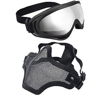 xcyt Tactical Airsoft máscara ajustable malla de acero Máscara de media cara máscara y gafas protectoras