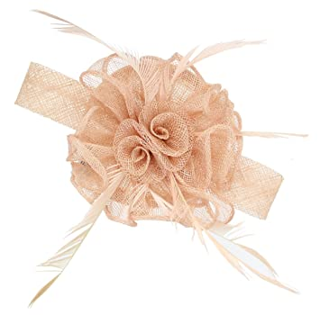 974d61f59b278 6442 Nude small looped sinamay and feather fascinator on a round base with  clip and brooch pin Wedding Races
