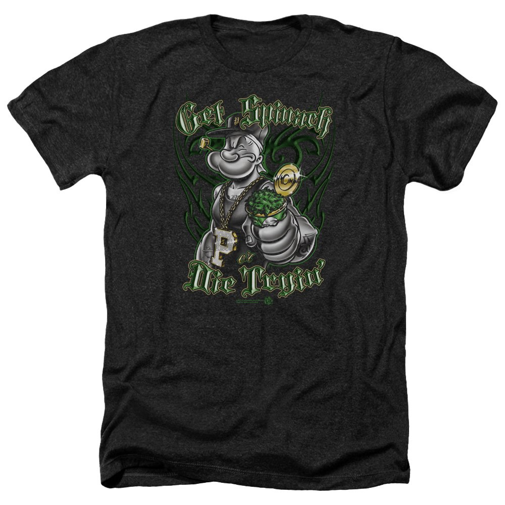 Popeye Get Spinach S Heather Shirt Black Lg