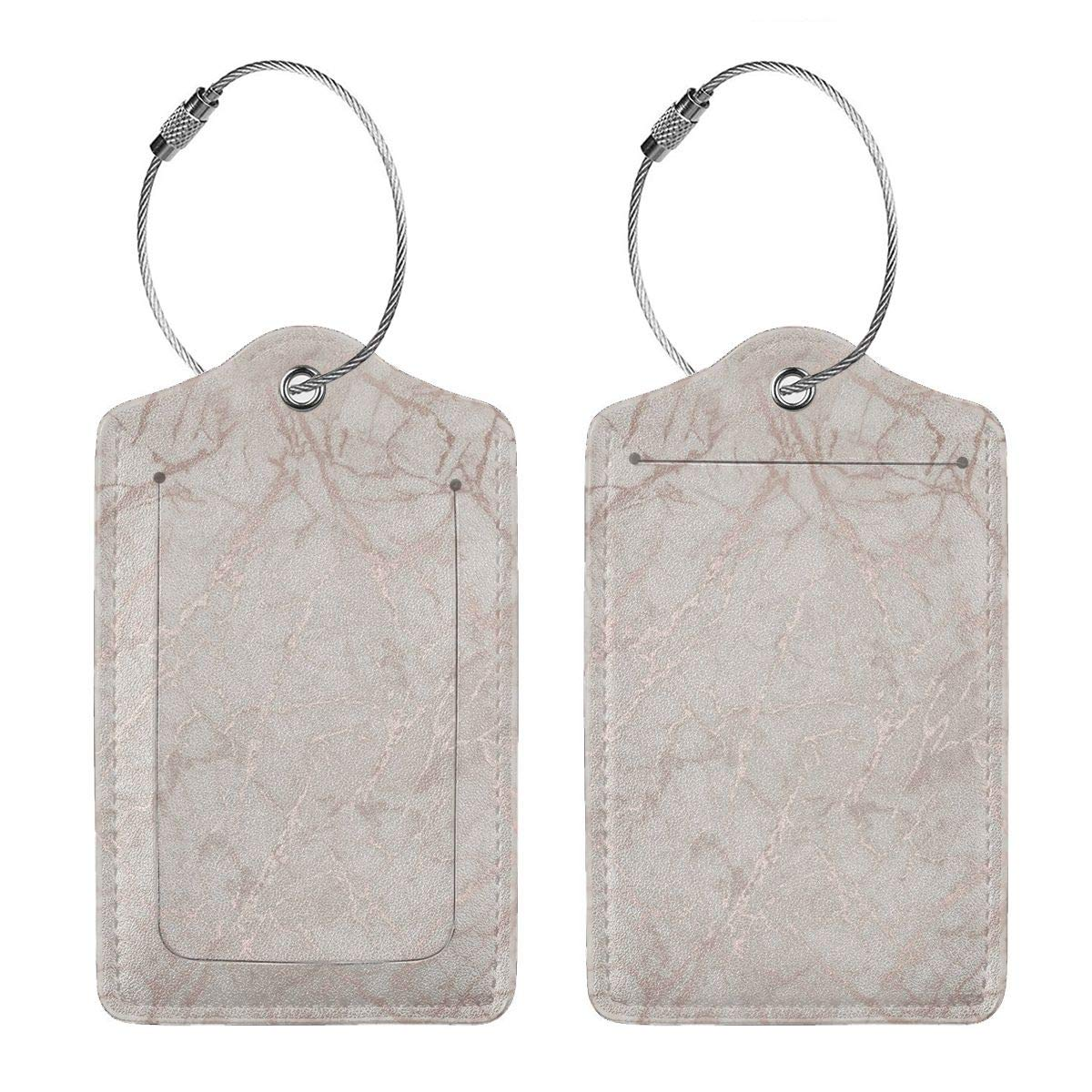 Marble-Rose-Gold8 Leather Luggage Tags Personalized Privacy Cover With Adjustable Strap