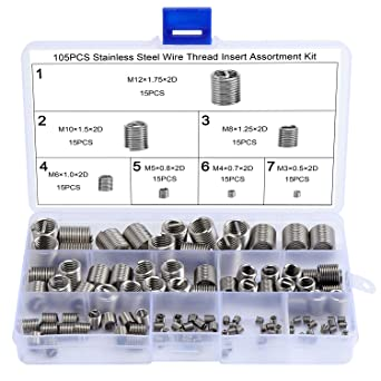 1,0 Kit Di Riparazione Filettatura,Tickas 30Pcs Kit Di Inserti Di Riparazione Filettatura Metrica M5 M6 M8 M10 M12 M14 Utensile Di Bobina Auto Helicoil Pro M6