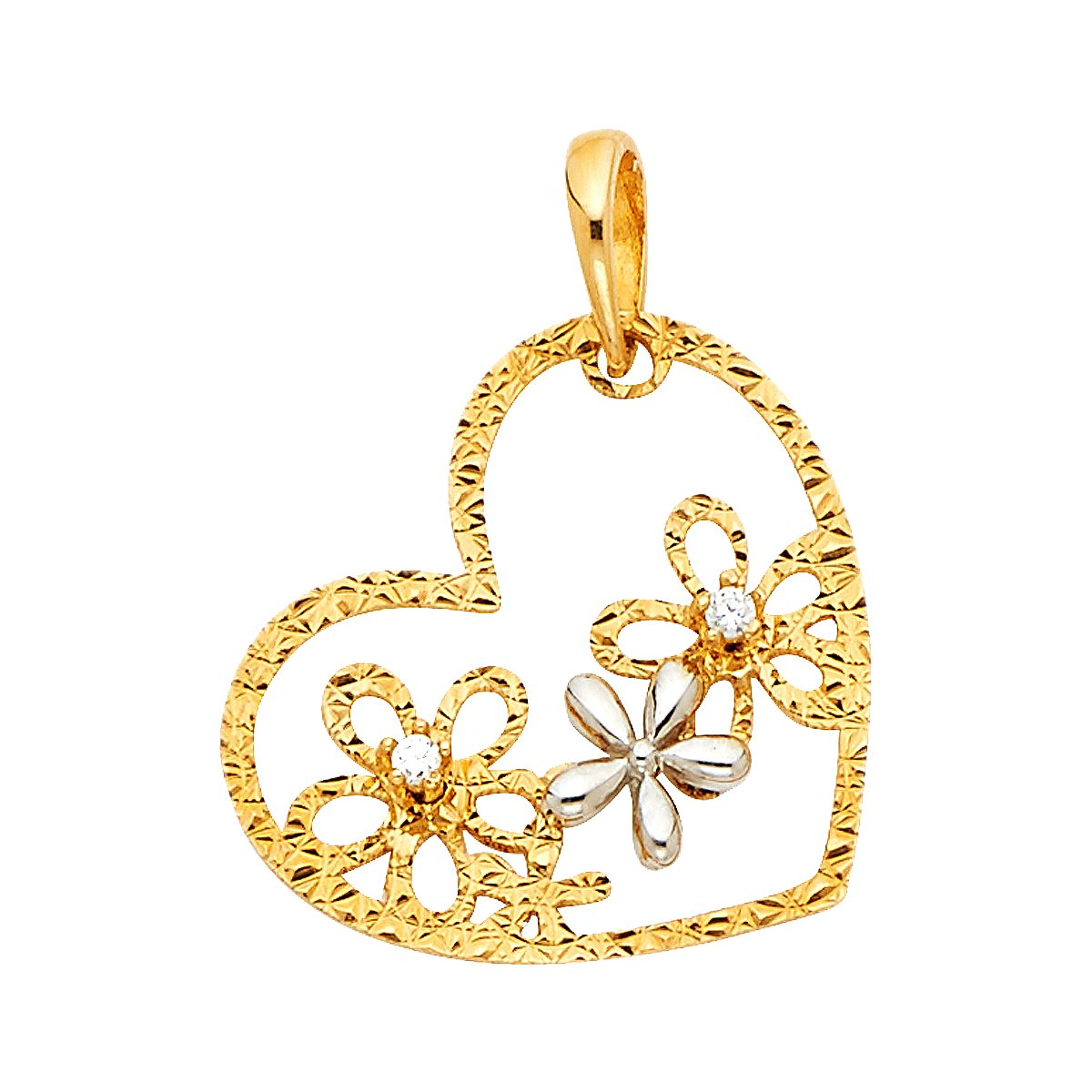 14k Yellow White Gold CZ Flower Heart Pendant Height 15 MM Width 20 MM