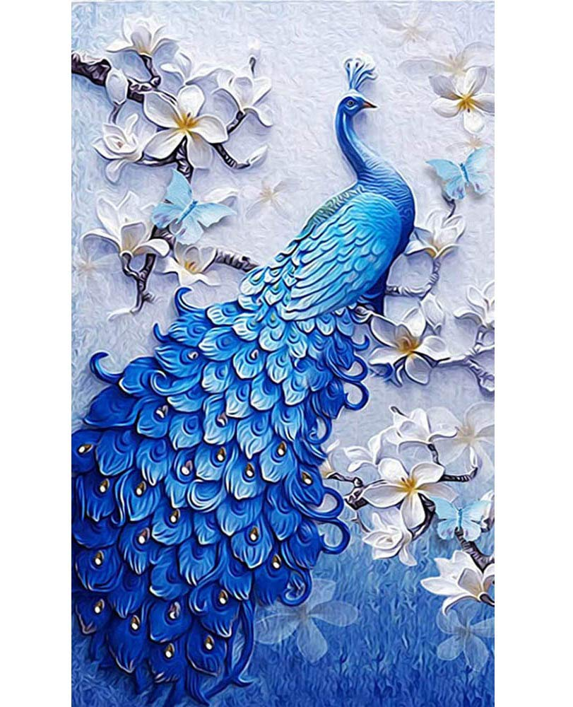 SanerDirect 5D DIY Diamond Painting Kit, Blue Peacock Crystal Rhinestone Diamond Art, Full Round Drill Diamond Craft for Home Wall Decor (35x24 inch)