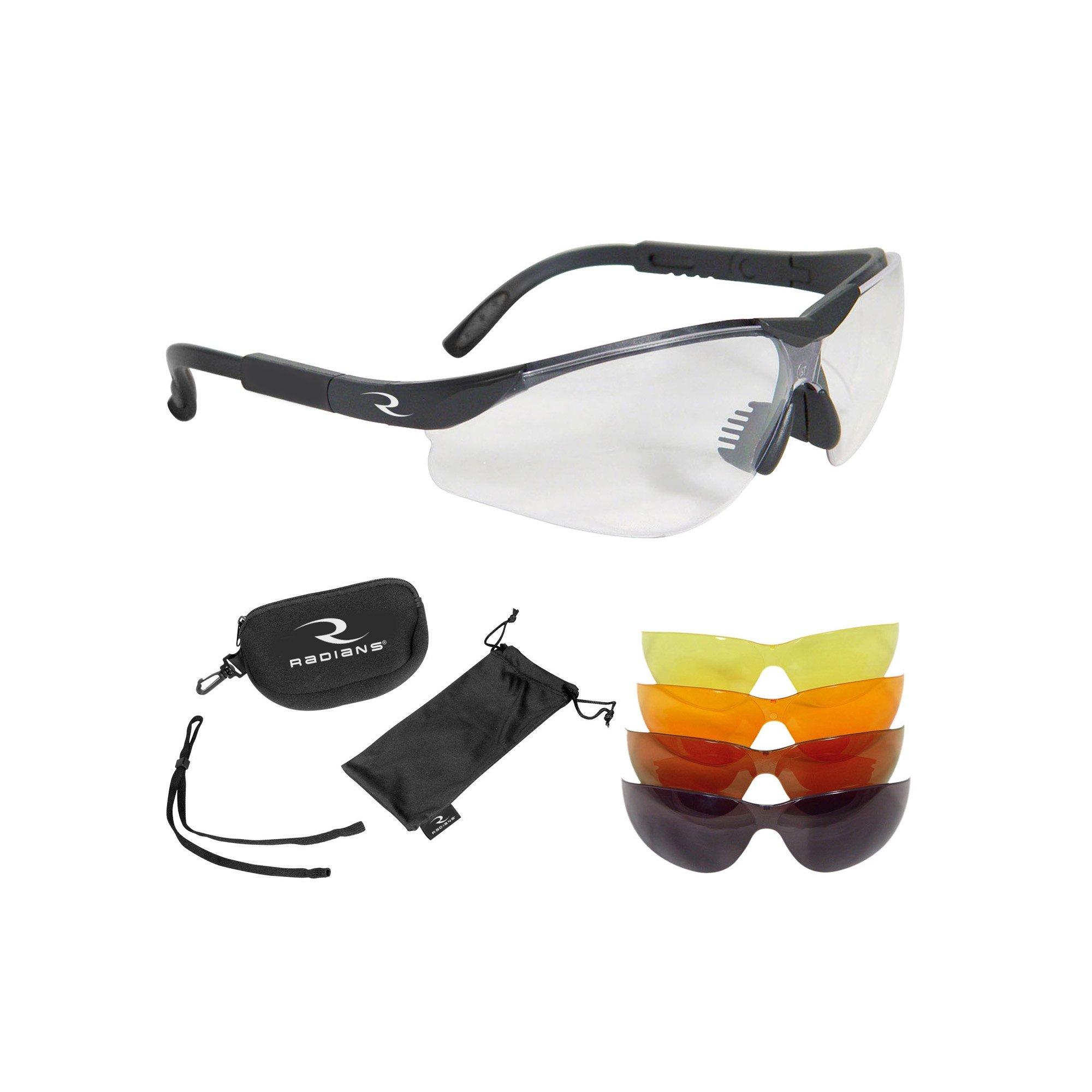 Radians T-85 Glasses with Case/Cloth Bag/Neck Cord, Black Frame, Clear/Copper/Amber/Orange/Green Mirror Lens